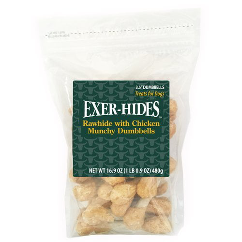 "Exer-Hides 3.5"" Munchy Dumbbells Dog Treats, 40pk by Generic"