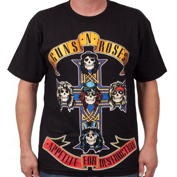 NEW /& OFFICIAL! Guns N/' Roses /'Appetite For Destruction/' Snow Wash T-Shirt