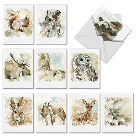'M6629OCB WATERCOLOR WILDLIFE' 10 Assorted All Occasions Cards Featuring Dynamic Watercolor Images of Animals of the American Landscape, with Envelopes by The Best Card