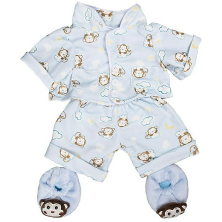 Blue Monkey Pajamas w/Slippers Teddy Bear Clothes Fits Most 8