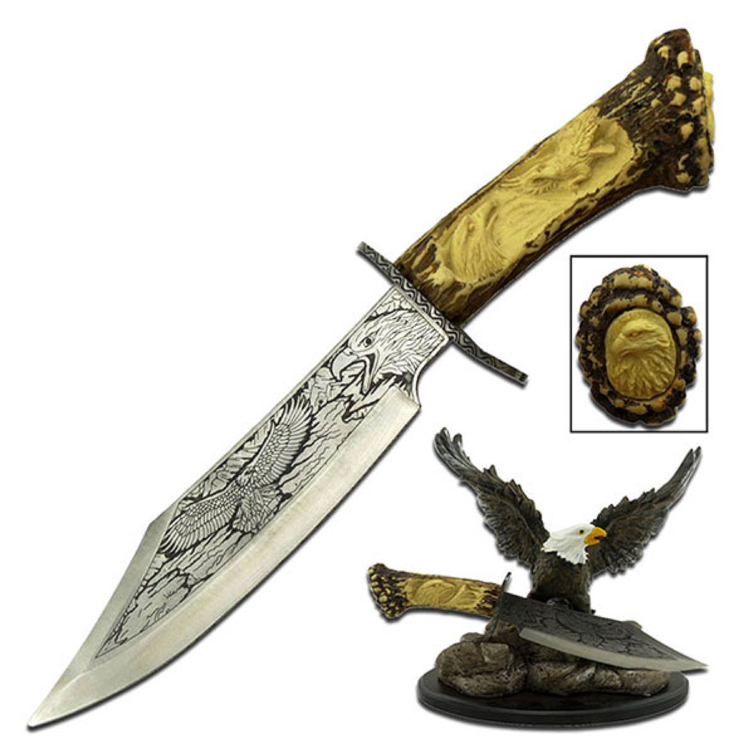"Master Cutlery Collectible Knife 5""Blade w/Eagle Resin Stand"