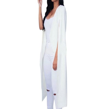 Iuhan Women Loose Long Cloak Blazer Coat Cape Cardigan Jacket Trench Outwear - Long White Hooded Cloak