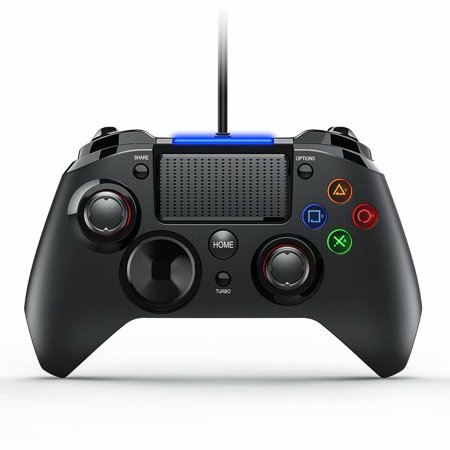 Play Station 4 Wired Gaming Controller Joysticks with Dual-Vibration Turbo and Trigger Buttons for PS4/PS3/PC(Windows XP/7/8/8.1/10)/ Android/Steam (Black) (Six Button Ps3 Controller)