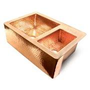 D'Vontz Copper 36'' L x 22'' W 60/40 Double Bowl Farmhouse Kitchen Sink