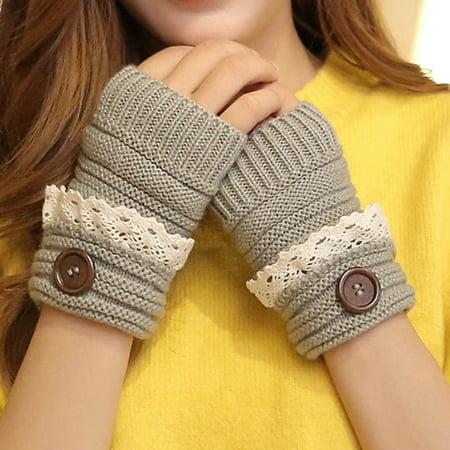 Button Fingerless Gloves - SHOPFIVE  1Pair Fashion Women Winter Knitted Warm Fingerless Gloves Women Lace Button Wrist Soft Mittens Good Gifts