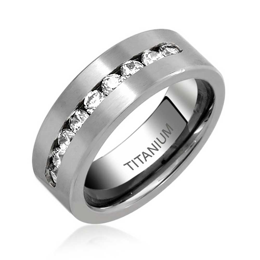 bling jewelry mens titanium channel set wedding band ring