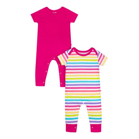 Short Sleeve Pure Organic True Brights Rompers, One Piece Coverall (Baby Girls) (Turtle Short Sleeve Romper)
