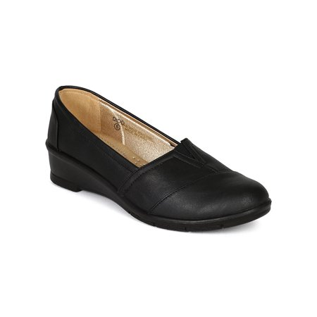 Low Profile Slip (New Women Refresh Dido Leatherette Slip On Low Wedge Heel Loafer Flat)