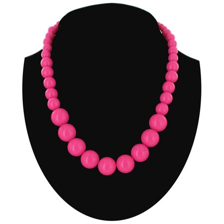 Wet Seal Hot Pink Graduated Lucite Beaded Close-Fitting Choker Necklace (Graduated Beaded Chain)