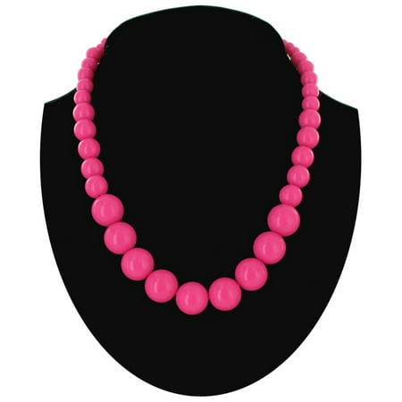 Wet Seal Hot Pink Graduated Lucite Beaded Close-Fitting Choker Necklace 16