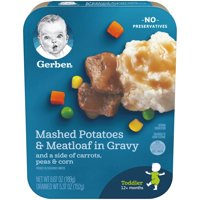 Gerber Lil Entrees Mashed Potatoes and Meatloaf Nuggets in Gravy with Carrots Peas and Corn 6.67 oz Tray