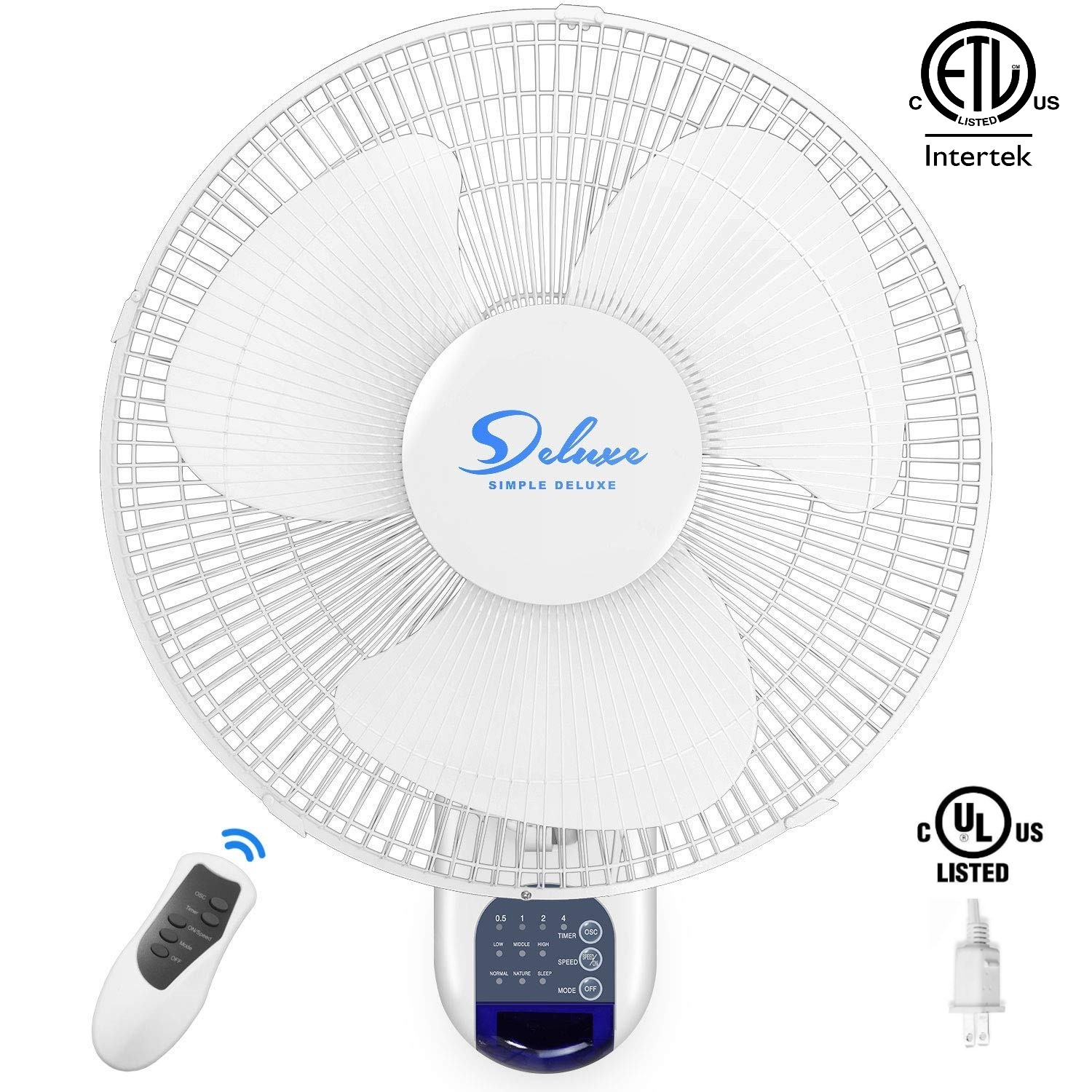 Simple Deluxe Quiet 16-Inch Digital Wall Mount Oscillating Fan with Remote