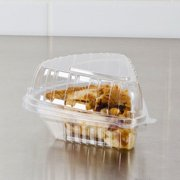 """Dart Clearseal C54HT1 6"""" x 6"""" x 3"""" Clear Hinged Lid Pie Wedge Container - 125/Pack"""