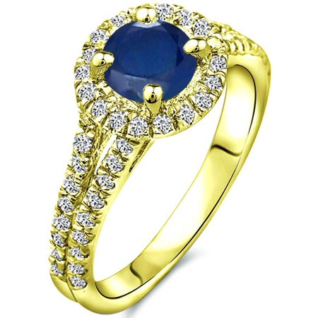 1.61 tcw Round Cut df Sapphire Diamond Halo Ladies Ring Solid 14k Yellow Gold