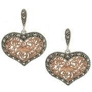 Sterling Silver asite Rose Gold Tone Heart Earrings