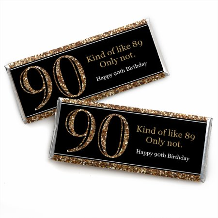 Adult 90th Birthday - Gold - Candy Bar Wrappers Birthday Party Favors - Set of 24
