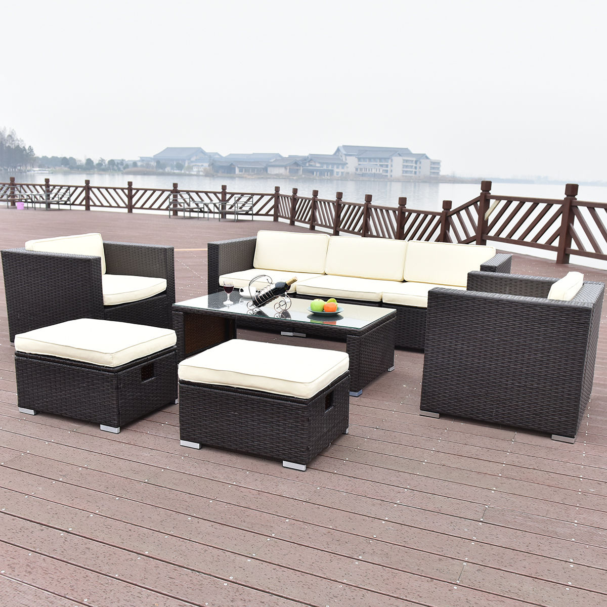 Costway 8 PCS Outdoor Patio Rattan Wicker Furniture Set Sofa Cushioned Garden Brown by Costway