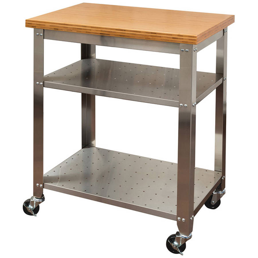 Seville Classics Stainless Steel Kitchen Work Table Cart with Bamboo Top