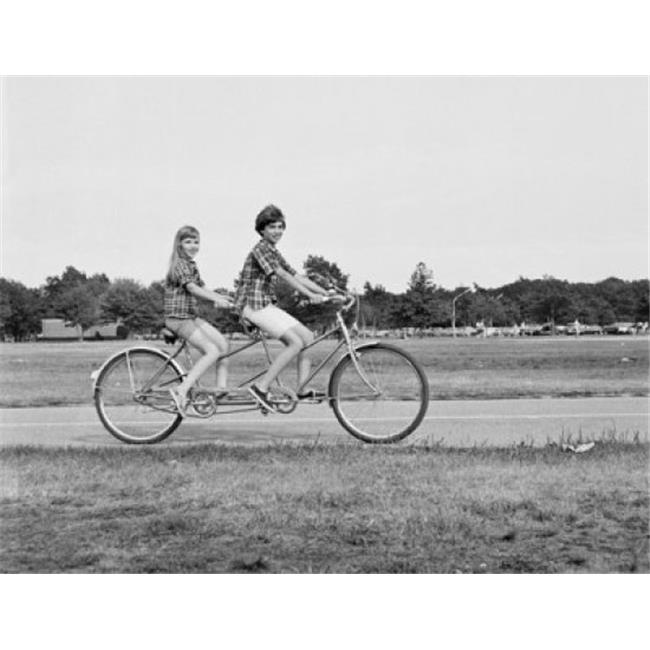 Posterazzi SAL2556890 Teenage Boy & Teenage Girl Riding a Tandem Bicycle Poster Print - 18 x 24 in.