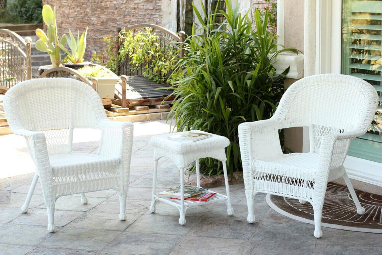 white chairs sets outdoor furniture for small spaces | 3-Piece White Resin Wicker Patio Chairs and End Table ...