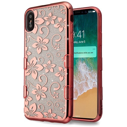 Apple iPhone Xs Max (6.5 in) Phone Case Slim TUFF HYBRID Bling Glitter Candy Silicone Rubber Gel Hard Electroplating Protective Case Cover Hibiscus Rose Gold Phone Case for Apple iPhone Xs Max