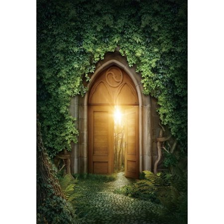 ABPHOTO Polyester 5x7ft Fairy Tale Children Background Retro Vintage Wooden Door Dawn Light Forest Photo Backdrop Green Leaves Tree Studio Photography Props Kids ()