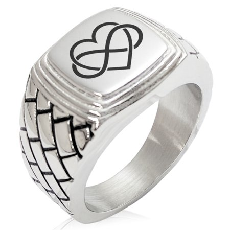 Stainless Steel Intertwined Infinity Heart Geometric Pattern Step-Down Biker Style Polished Ring