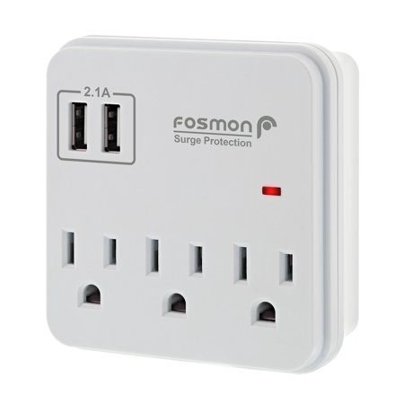 Fosmon 3 Outlet Surge Protector with 2 USB Ports [10.5Watt/2.1A], Wall Plug Splitter 900 Joules - ETL Listed