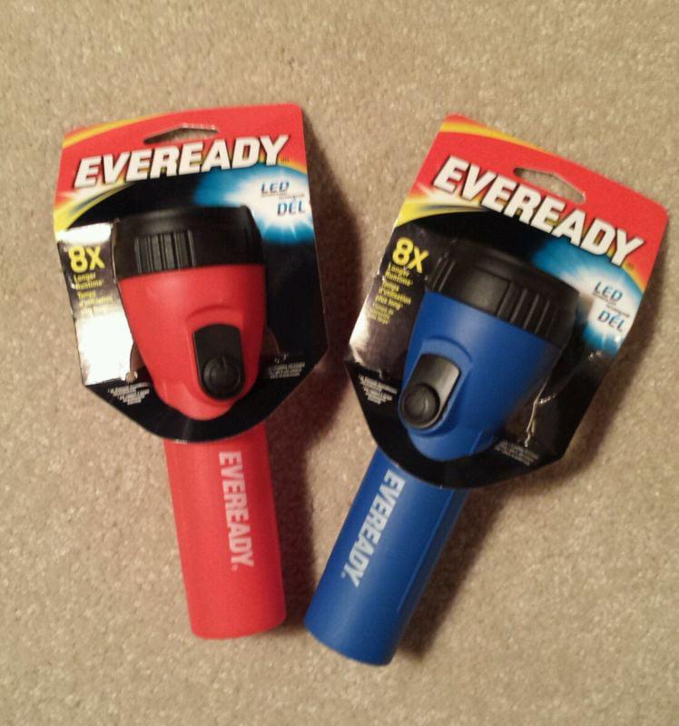 Eveready Flashlight Economy LED EVEL15BP Set of two - 1 Red 1 Blue