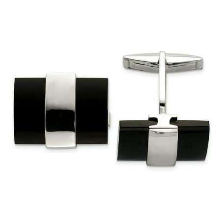 925 Sterling Silver Black Onyx Cuff Links Mens Cufflinks Link Dad Mens