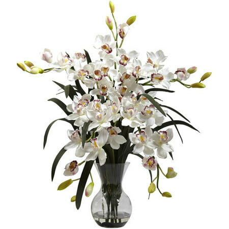 Potted Cymbidium - Nearly Natural Large Cymbidium with Vase Arrangement, White