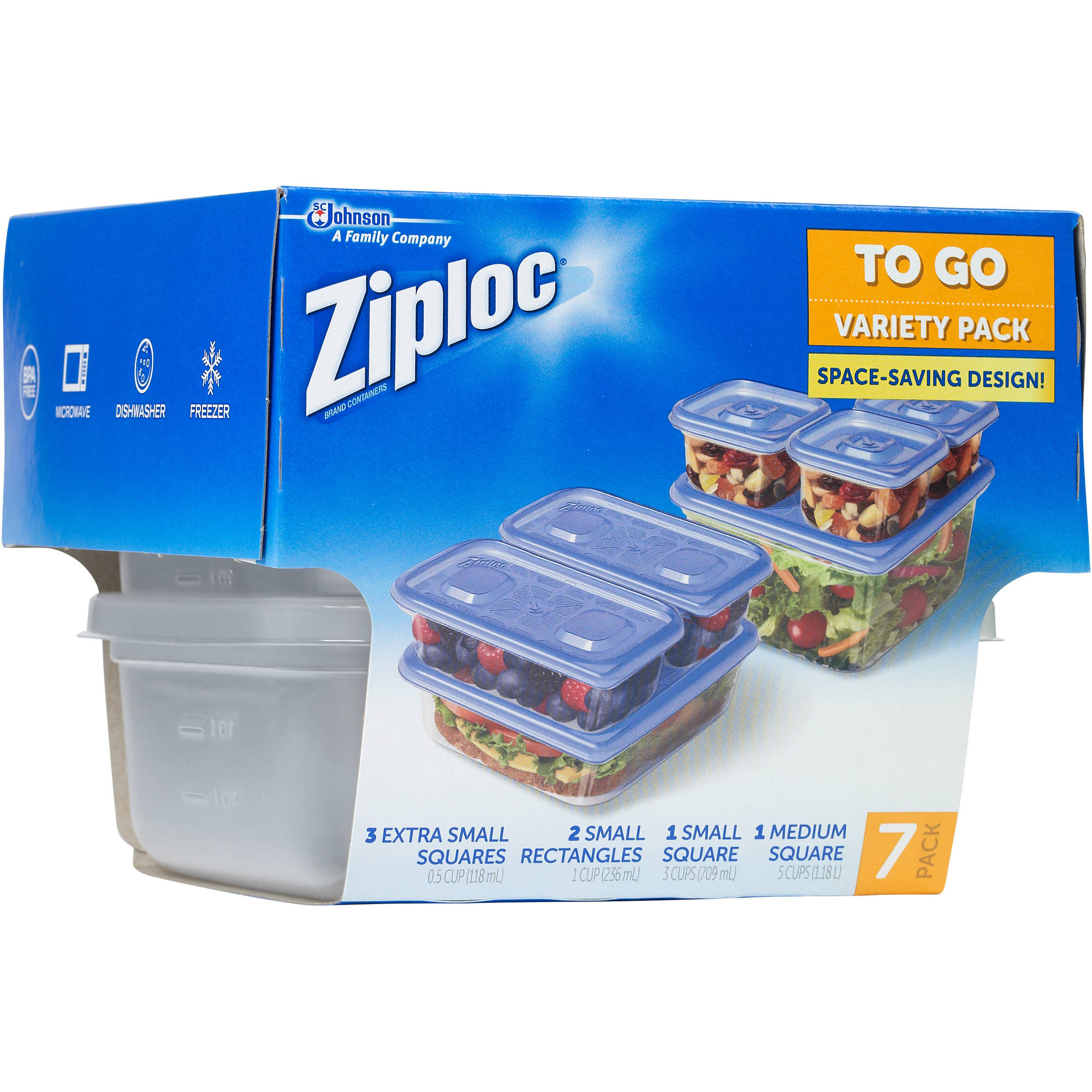 Ziploc To Go One Press Seal Variety Pack - 7 CT