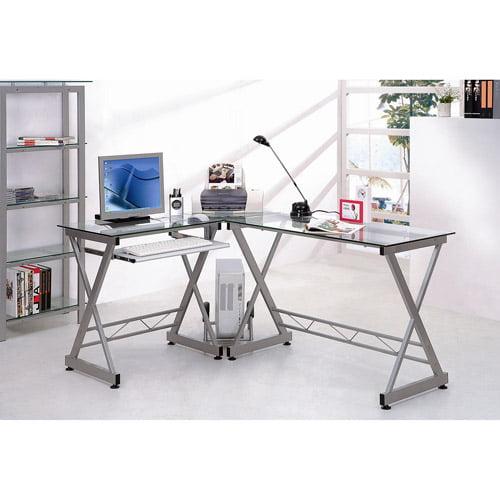 Techni Mobili L-shaped Glass Computer Desk, Gray