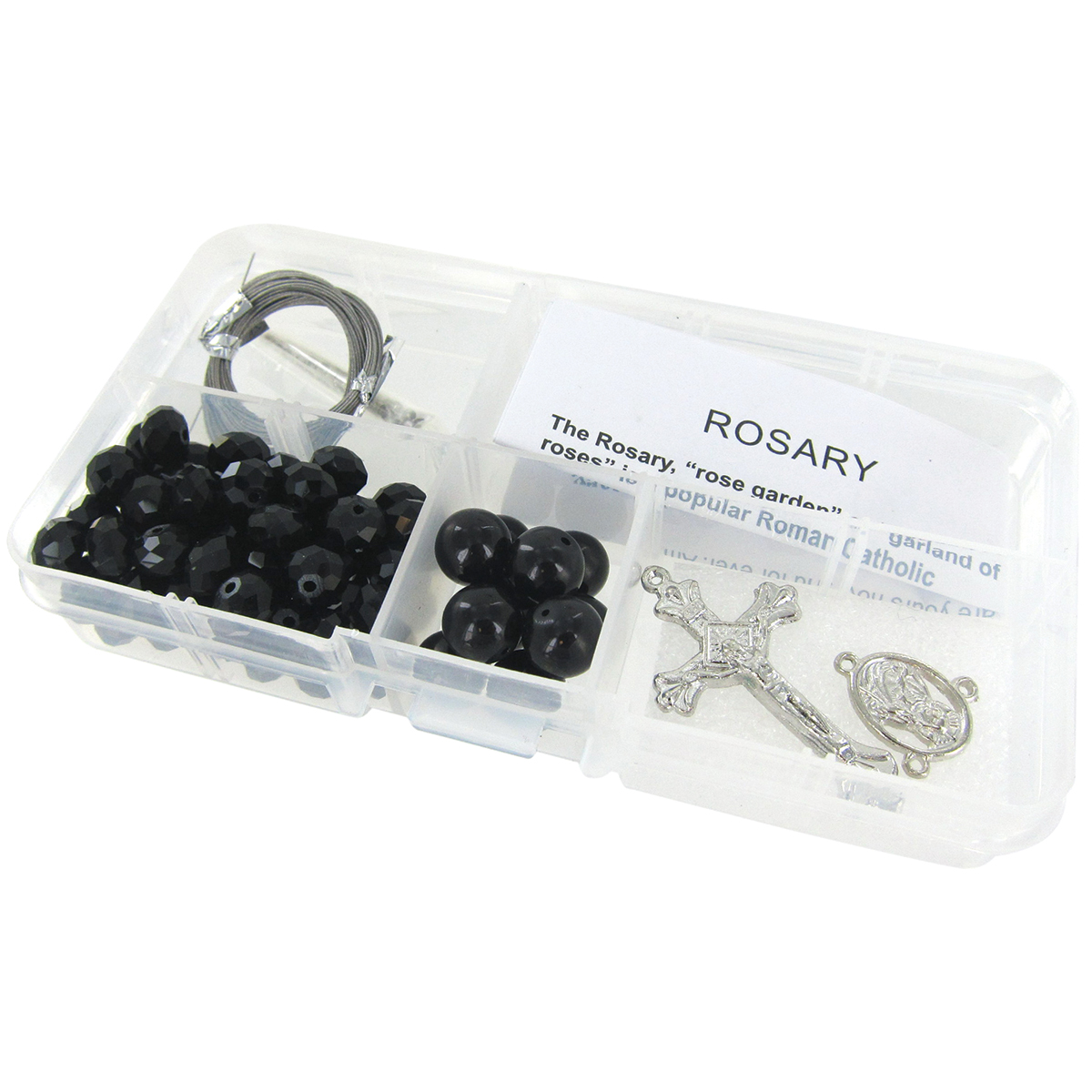 Crystal & Pearl Rosary Bead Kit-Black Crystal Beads & Black Pearls
