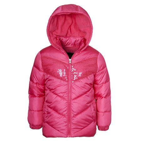 Sequin Hooded Puffer Jacket (Little Girls & Big Girls) - Varsity Jackets For Little Girls
