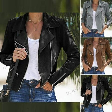 Women's Faux Suede Leather Short Jacket Bomber Coat Casual Biker Outwear Wholesale Leather Biker Jacket