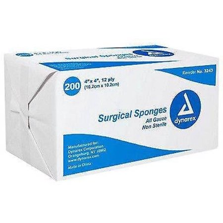"""Non-Sterile Gauze Pads 4"""" x 4"""" 12 Ply Latex Free Dynarex 200 Pads MS-42230"""