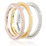 Real 925 Sterling Silver 3 Piece Multi-Color with Cz Stones Ring Set - Available In Sizes 6-9 (7)