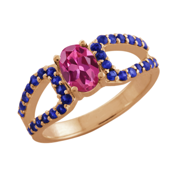1.49 Ct Oval Pink Tourmaline Blue Sapphire 18K Rose Gold  Ring