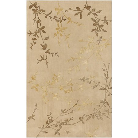 9' x 13' Asian Autumn Branch Gold and Mustard Wool Area Throw Rug