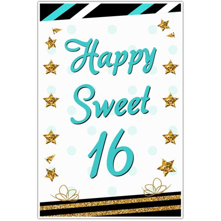 Teal and Gold Striped Sweet 16 Sixteen Birthday Banner for $<!---->