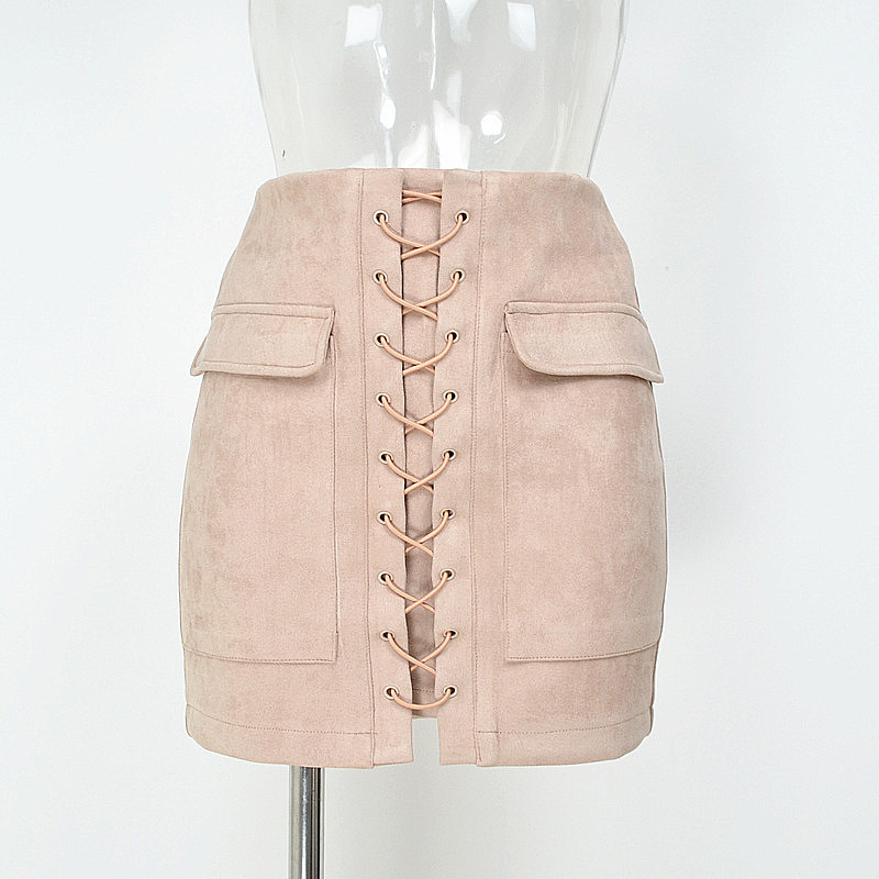 Women's High Waist External Pocket Tight Suede Lace Up Skirt