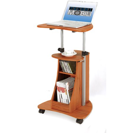 - Techni Mobili Sit-to-Stand Rolling Adjustable Height Laptop Cart With Storage, Woodgrain (RTA-B002)