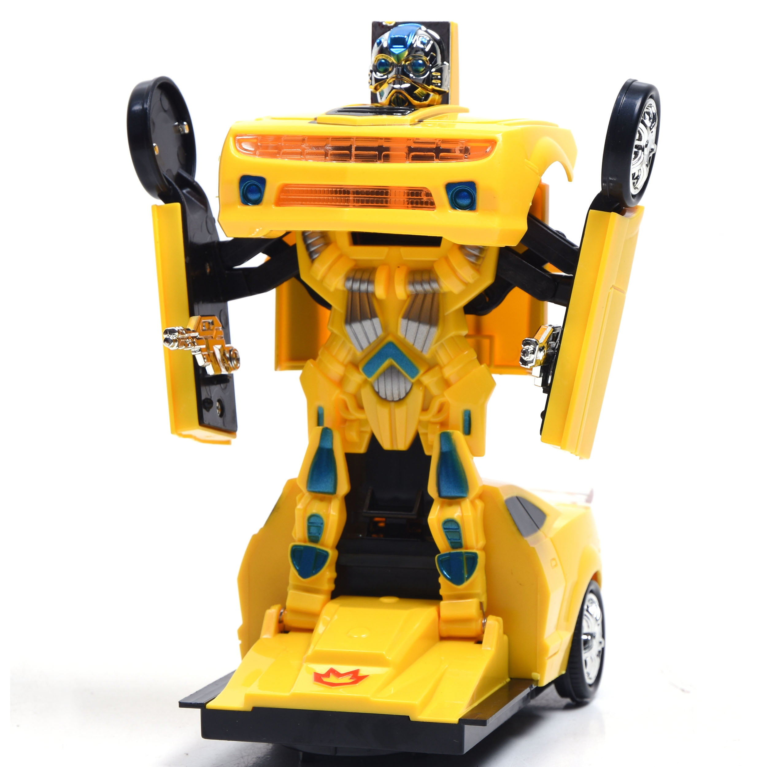 TRANSFORMERS BUMBLEBEE STYLE CAR ROBOT BUMP /& GO CAR LIGHTS SOUNDS TOYS