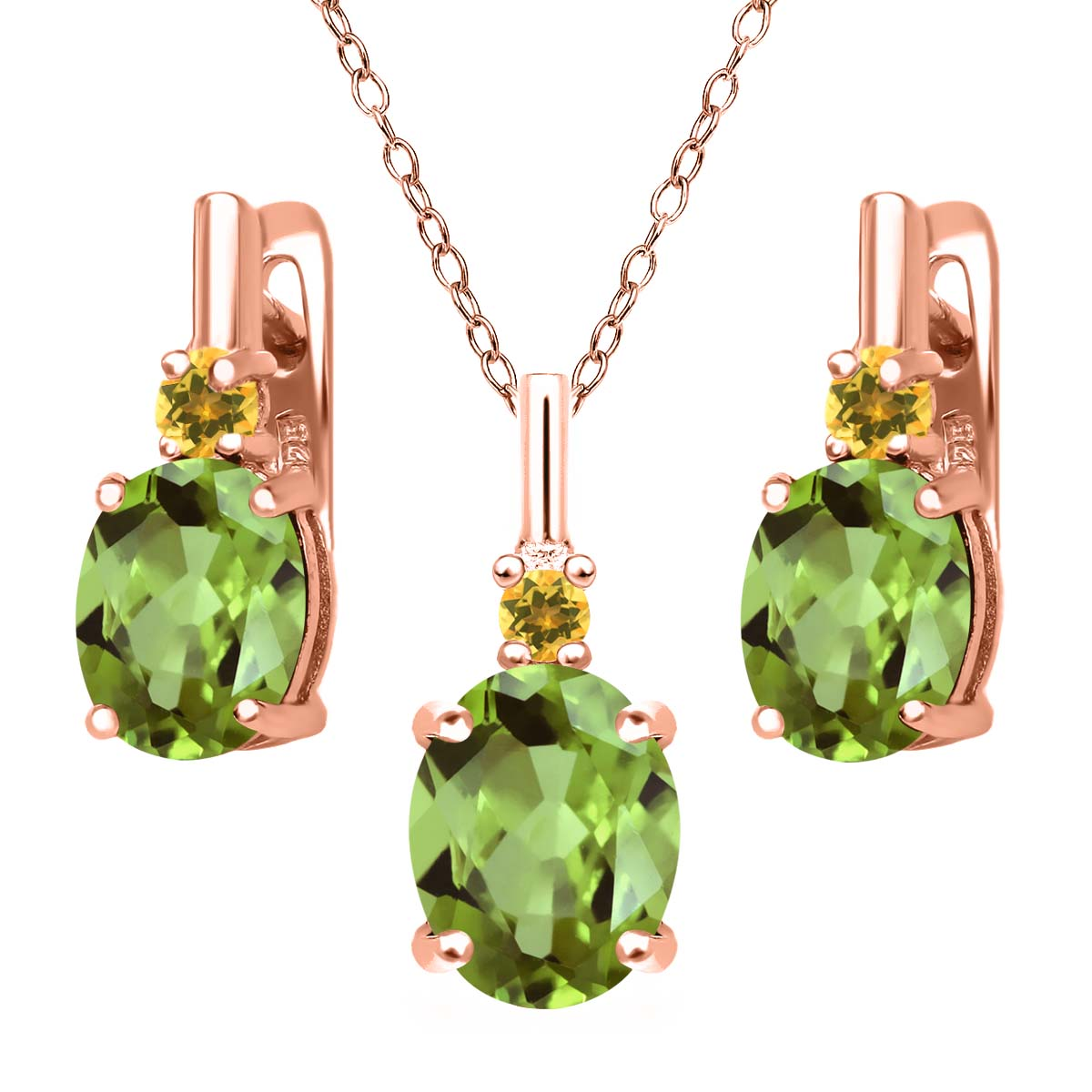 Peridot and Simulated Citrine 18K Rose Gold Plated Silver Pendant Earrings Set by