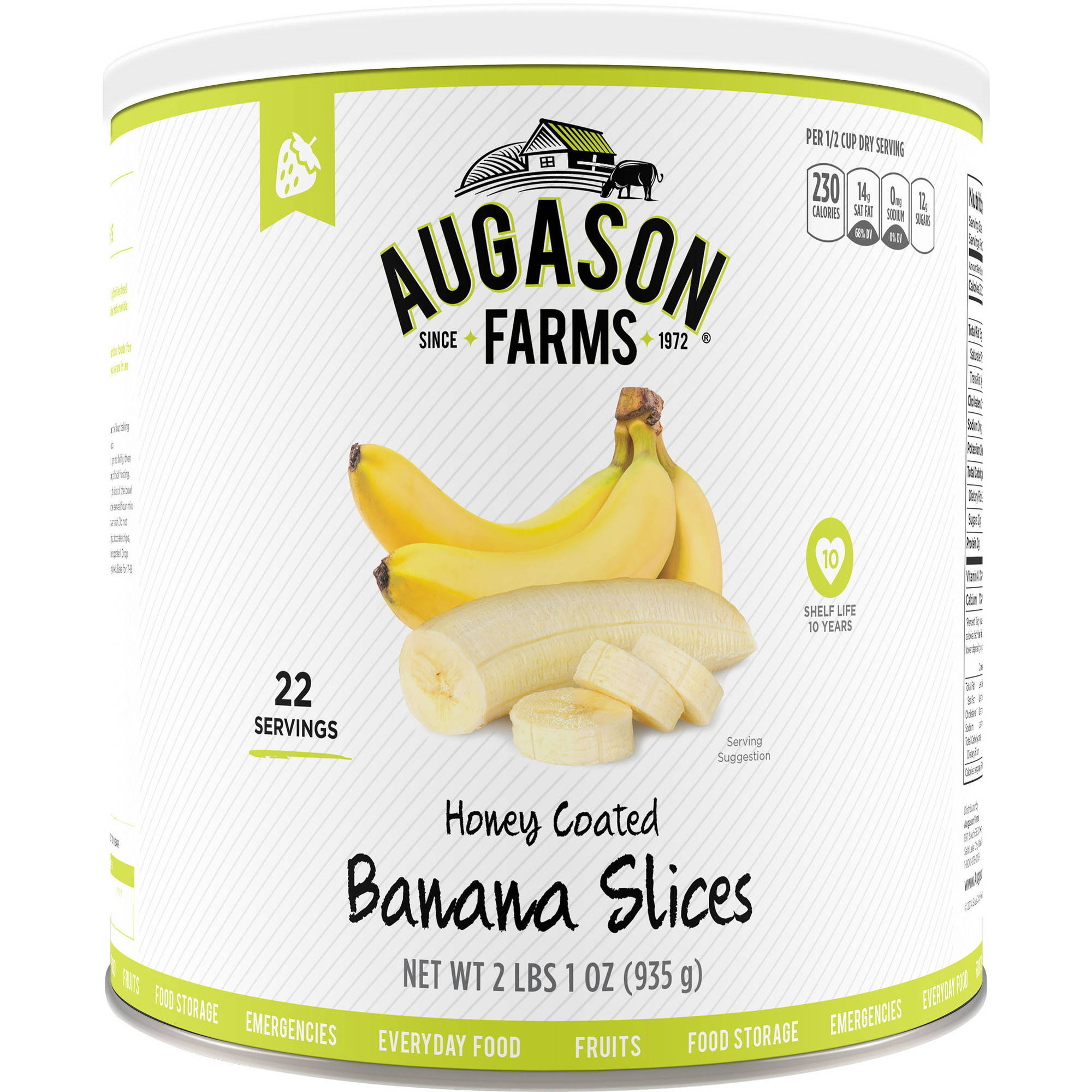 Augason Farms Emergency Food Honey-Coated Banana Slices, 2 lb