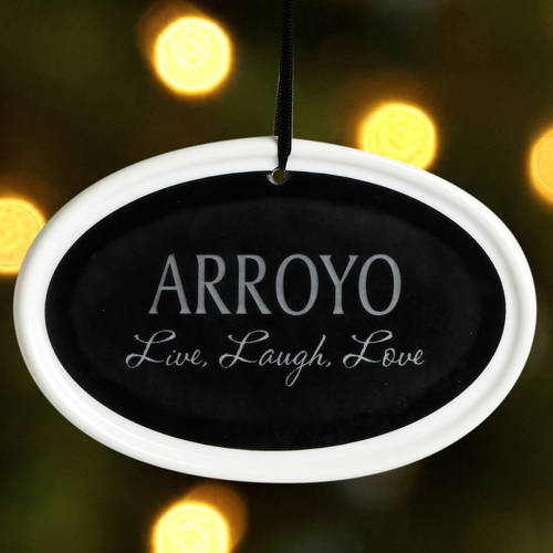 "Personalized ""Live, Love, Laugh"" Christmas Ornament, Available in 5 Colors"