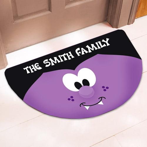 Personalized Half-Round Halloween Vampire Doormat