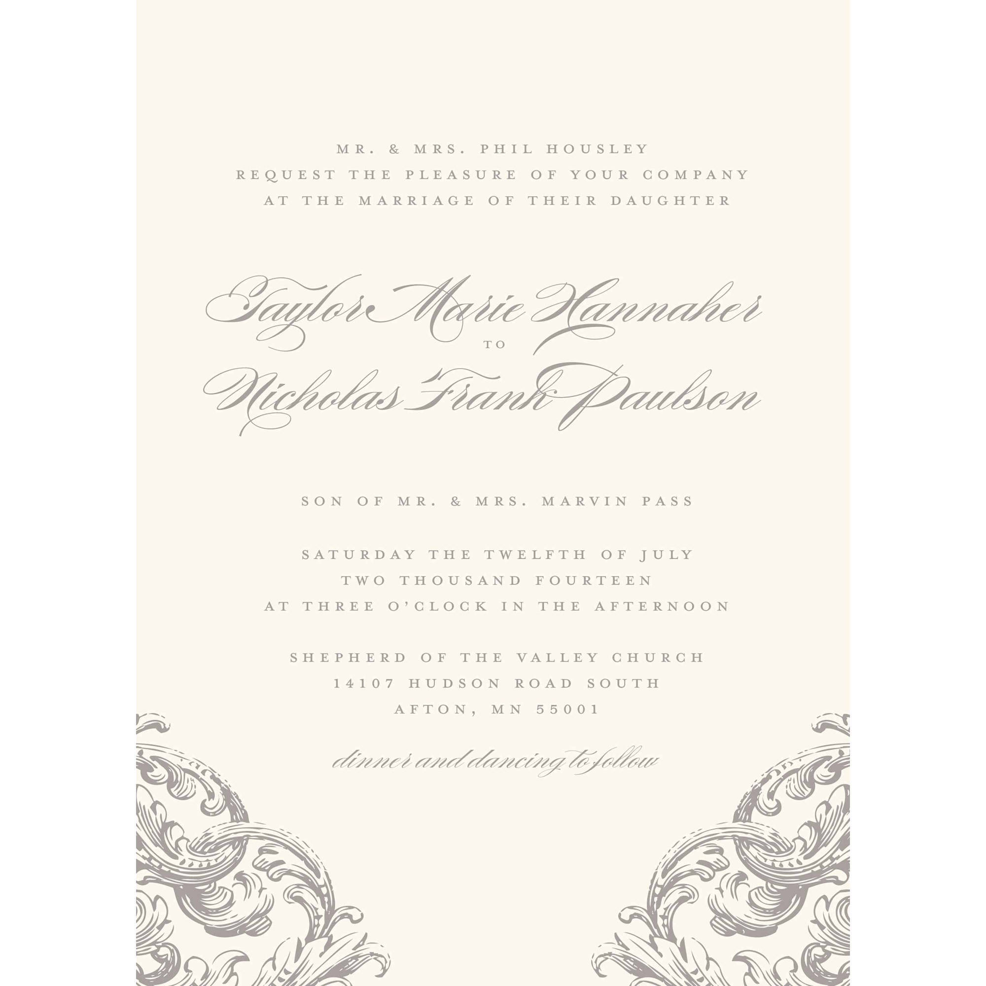 Romantic Scroll Standard Wedding Invitation