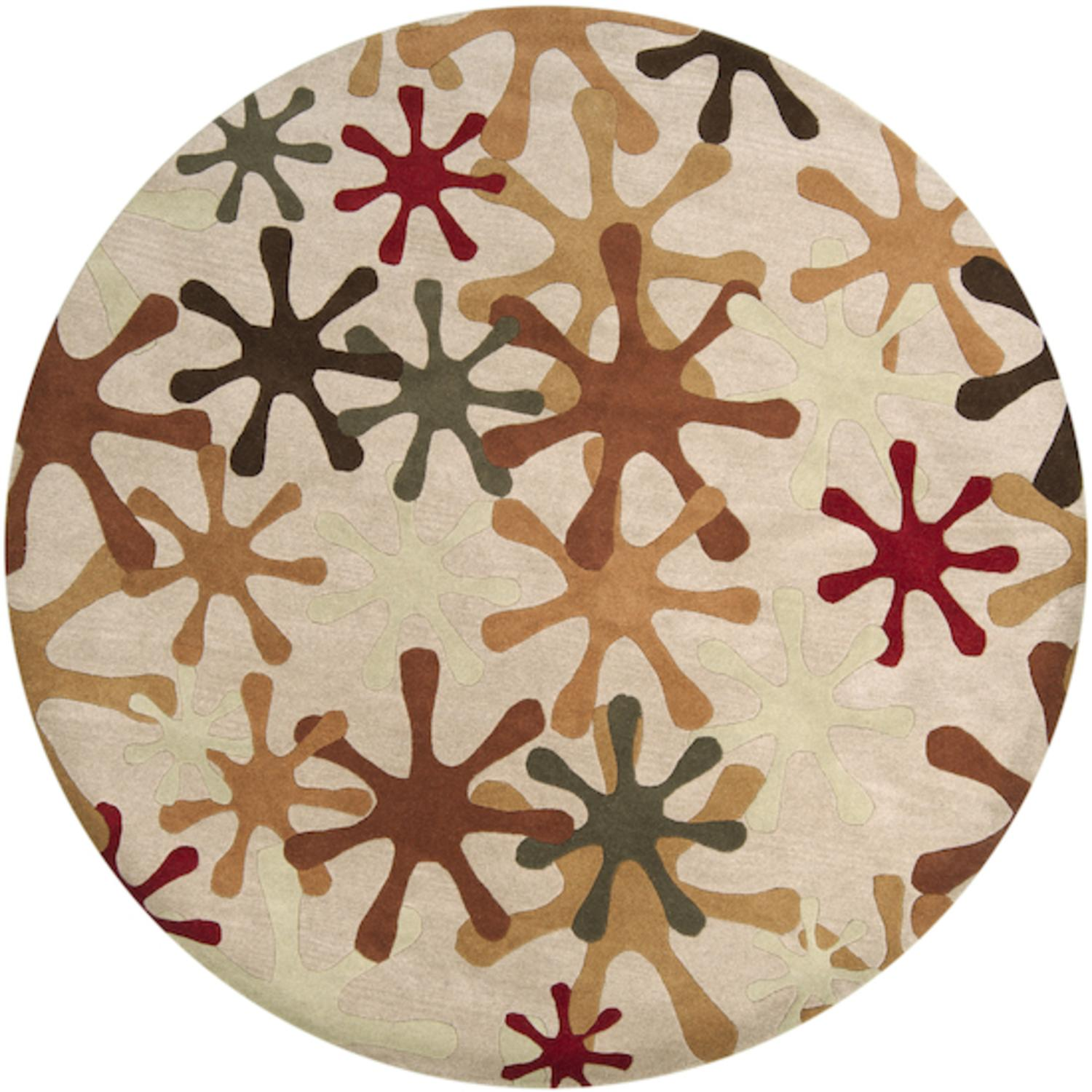 6' Urbane Jacks Carnelian Red and Army Green Round Wool Area Throw Rug